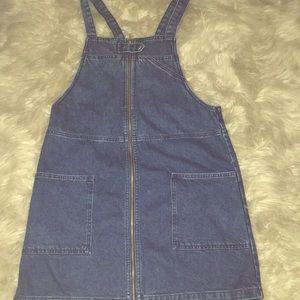 Topshop moto jean denim overall dress jumper zip
